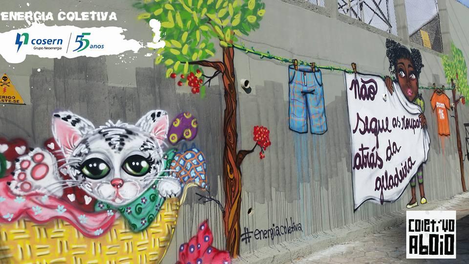 Grafittis em uma das estações de energia da Cosern