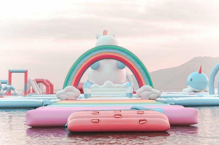Um parque inflável de unicórnios, isso existe!