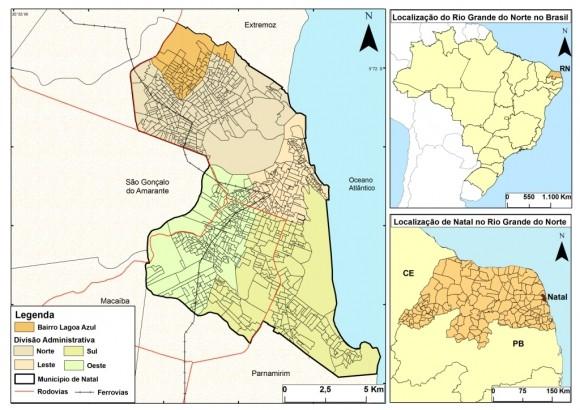 Qual bairro de Natal com menor área territorial?